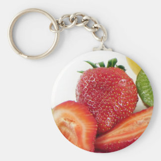 strawberries basic round button key ring