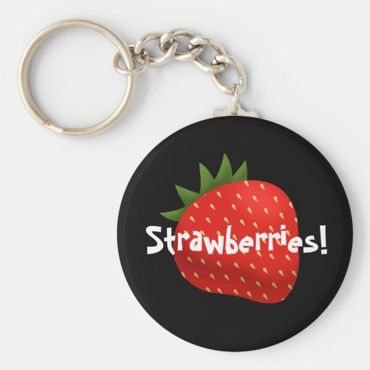"""Strawberries!"" Basic Round Button Key Ring"