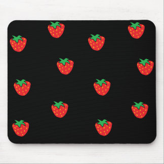 Strawberries Black Mouse Mat