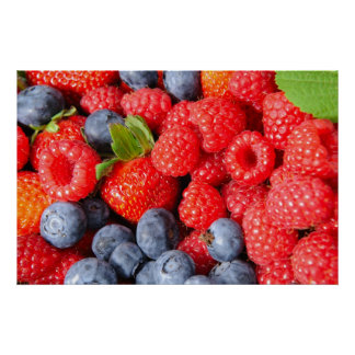 Strawberries Blueberries and Raspberries Poster