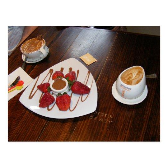 Strawberries ,coffee and chocolate. postcard