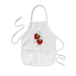 Strawberries Cross Stitch Kids Apron