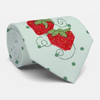 Strawberries Cross Stitch on Green Dots Tie