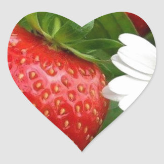 Strawberries & Daisies Heart Sticker