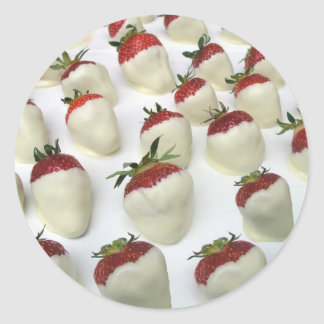 Strawberries dipped in white chocolate classic round sticker