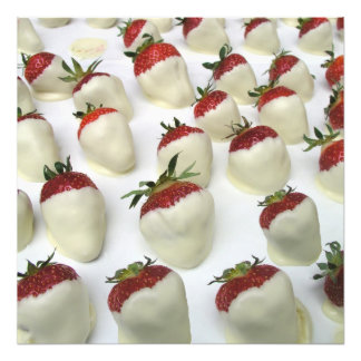 Strawberries dipped in white chocolate photo print