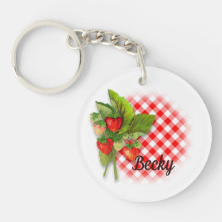 Strawberries, Gingham and Hearts Key Ring