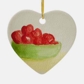 Strawberries in a green bowl ceramic heart decoration