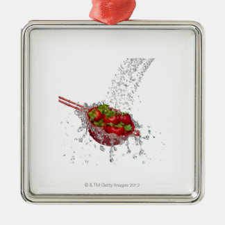 Strawberries in a red colander christmas ornament