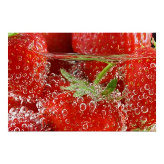 Strawberries in water with bubbles poster
