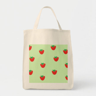 Strawberries Mint Green Canvas Bags