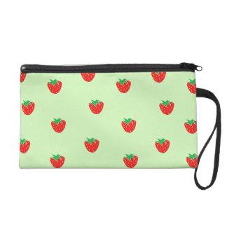 Strawberries Mint Green Wristlet Clutches