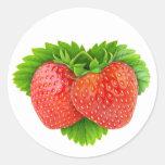 Strawberries on a leaf round sticker