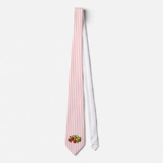 Strawberries on Pink and White Stripes Tie