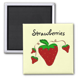 Strawberries On The Vines Square Magnet