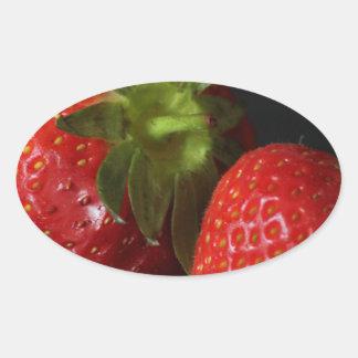 strawberries oval sticker