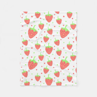 Strawberries pattern fleece blanket