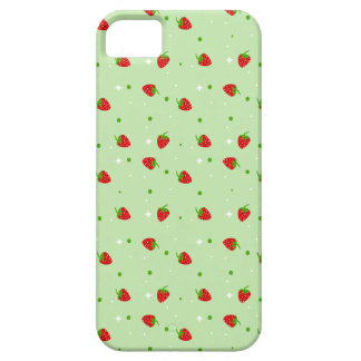 Strawberries Pattern with Green Background Case For The iPhone 5