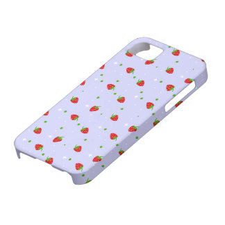 Strawberries Pattern with purple Background Barely There iPhone 5 Case