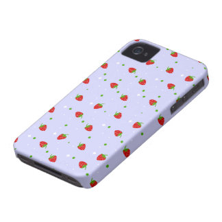 Strawberries Pattern with purple Background iPhone 4 Case
