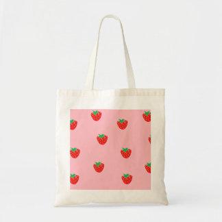 Strawberries Pink Budget Tote Bag