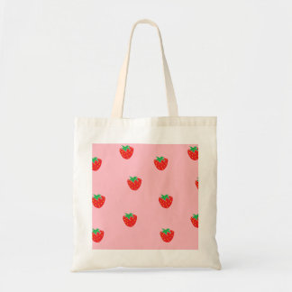Strawberries Pink Canvas Bag