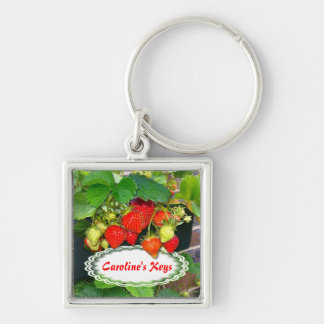 Strawberries ~ Premium Square Keychain