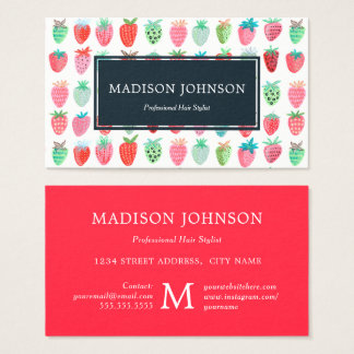Strawberries Red Monogram Custom | Business Cards
