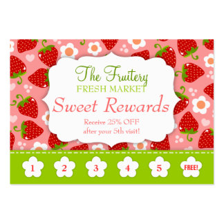 Strawberries Rewards Promo Punch Card Pack Of Chubby Business Cards
