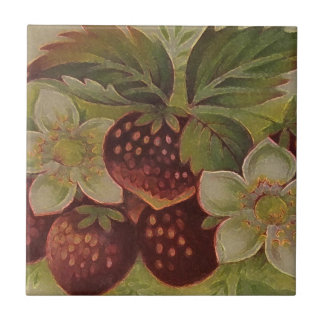 Strawberries Small Square Tile