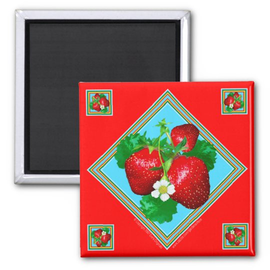 STRAWBERRIES Square Magnet
