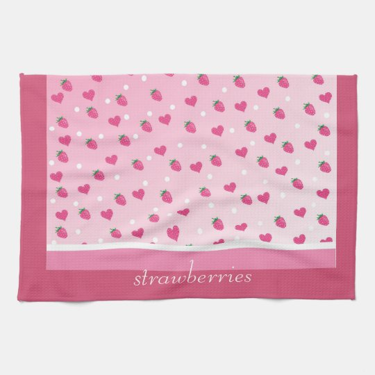strawberries tea towel