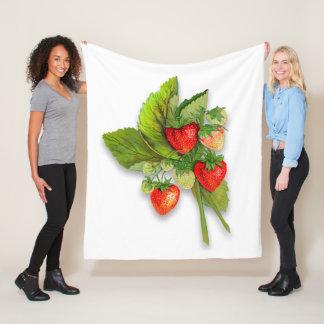 Strawberries, Vintage Botanical Style Fleece Blanket