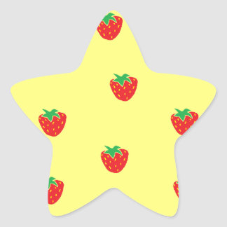 Strawberries Yellow Star Sticker