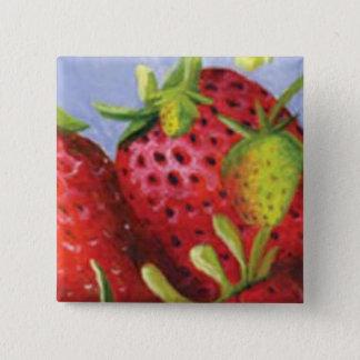 Strawberry 15 Cm Square Badge