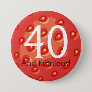 Strawberry 40th Birthday Badge (Customisable Age)