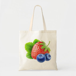Strawberry and blueberries tote bag