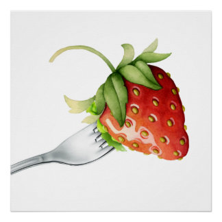 Strawberry and Fork Poster - SRF