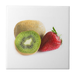 Strawberry and kiwi small square tile