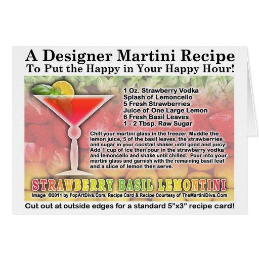 Strawberry Basil Martini Recipe Card Zazzle
