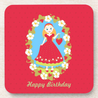 Strawberry Birthday Party Girl Beverage Coaster
