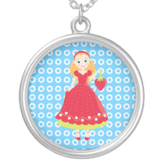 Strawberry Birthday Party Girl Round Pendant Necklace