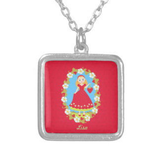 Strawberry Birthday Party Girl Square Pendant Necklace