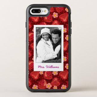 Strawberry Blossom Pattern | Monogram OtterBox Symmetry iPhone 8 Plus/7 Plus Case