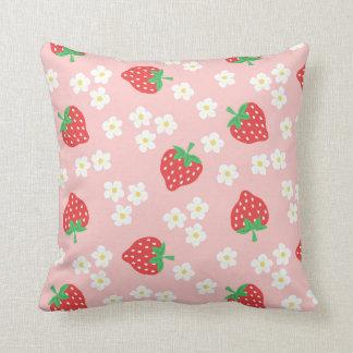 Strawberry Blossoms Pink Pattern Cushion