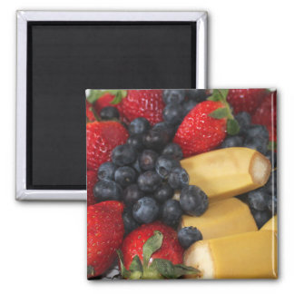 strawberry blueberry fruit food sweet Tropical 2 Inch Square Magnet