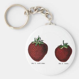 Strawberry Botanicals Basic Round Button Key Ring