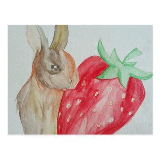 Strawberry Bunny Postcard