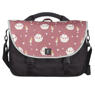 Strawberry Cake and Umbrella Fruit Drinks Pattern Laptop Messenger Bag