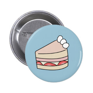 Strawberry cake - Blue 6 Cm Round Badge